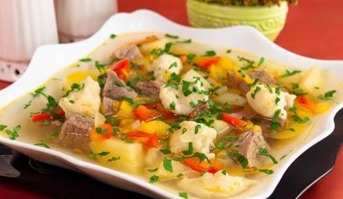 Домашний суп с клёцками