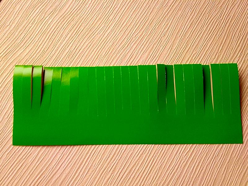 надрезанный лист зеленой бумаги