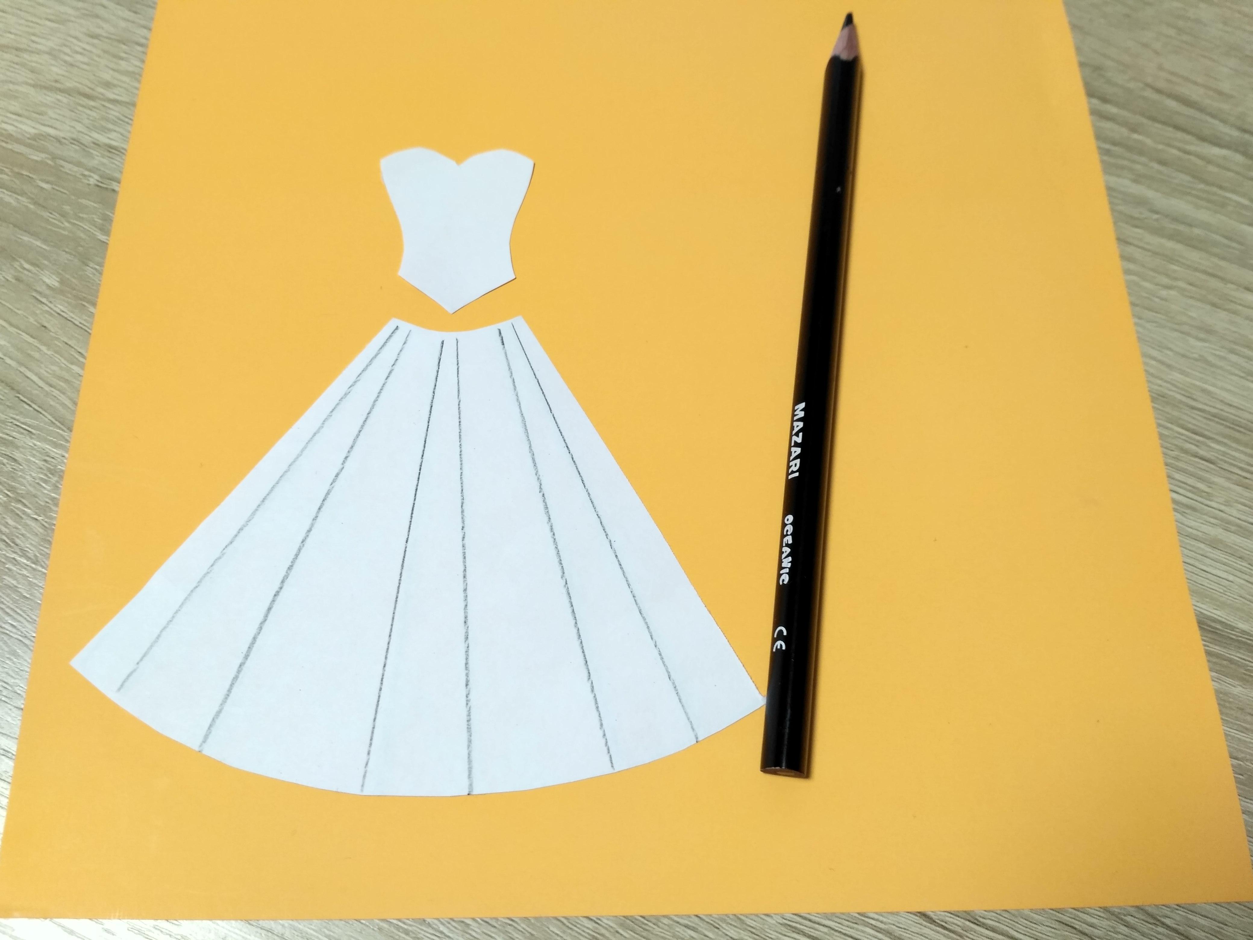 трафарет платья для открытки