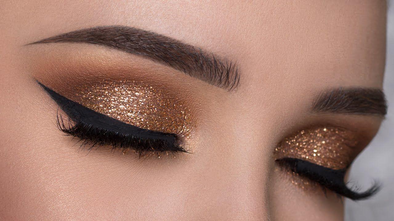 золотистый макияж к Новому году