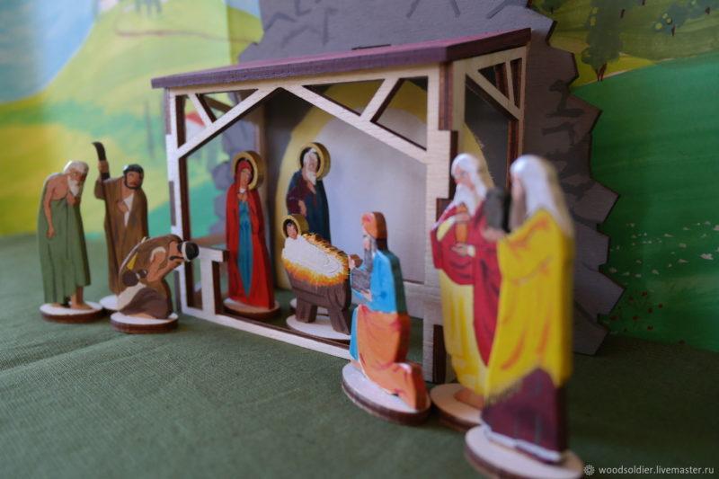 Вертеп на Рождество. Подарки должны быть для всей семьи.