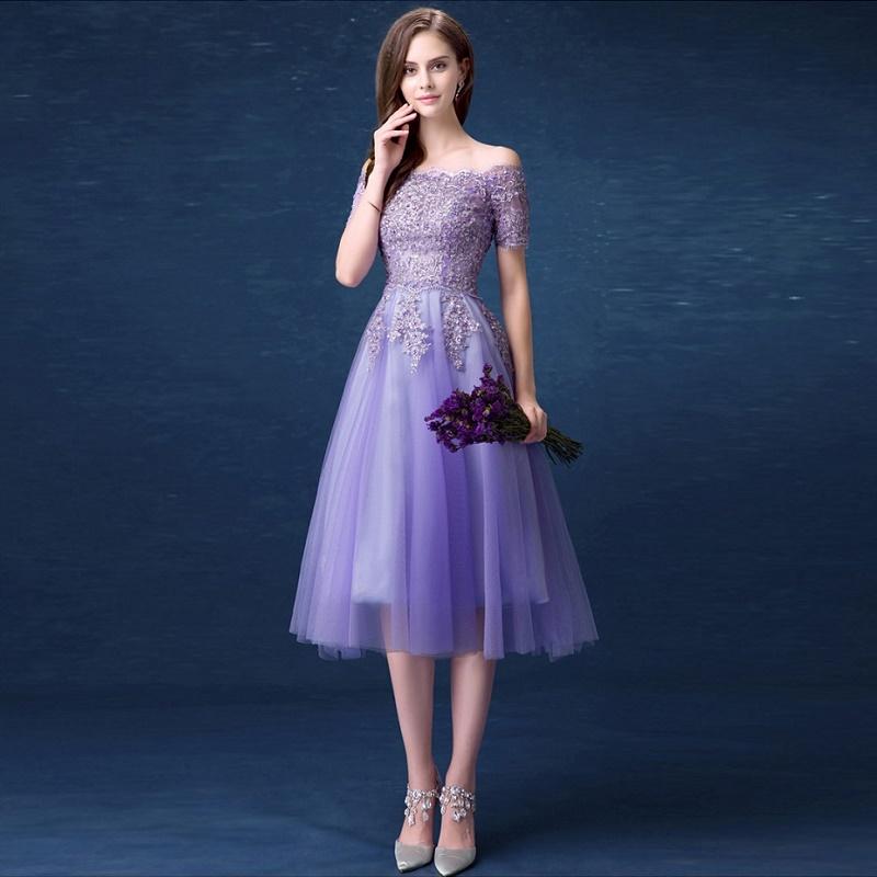 Лиловое платье на выпускной