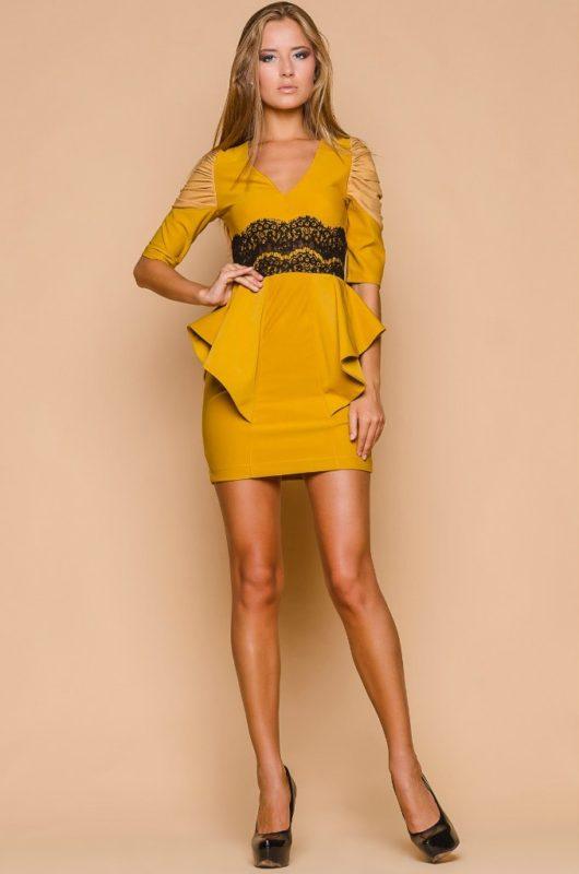 Горчичный цвет с жёлтым подтоном платья на выпускной