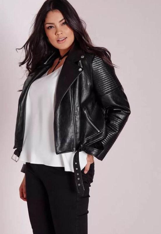 Куртка – косуха на полной женщине