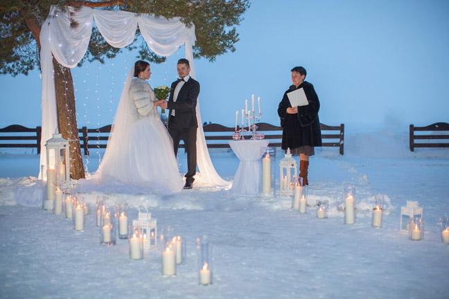 свадьба зимой в парке