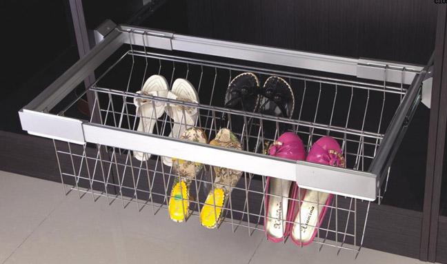 Выдвижные металлические корзины для хранения обуви