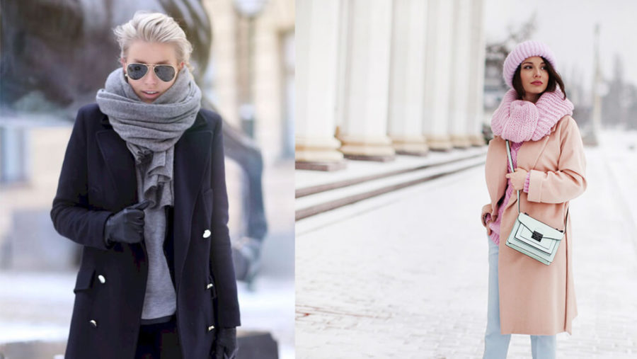 Как носить шарф под пальто
